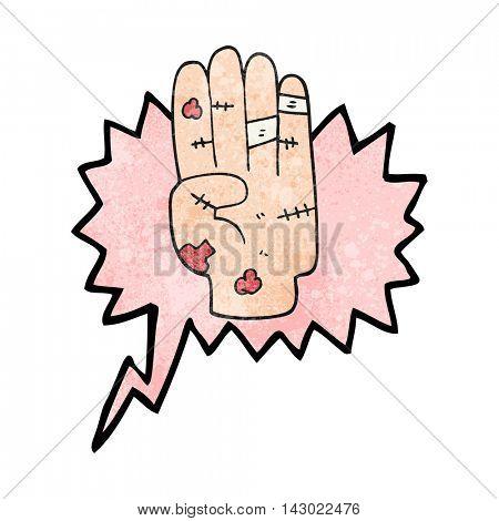 freehand speech bubble textured cartoon injured hand