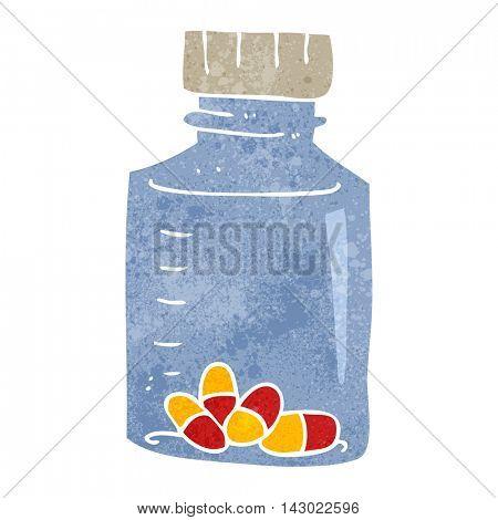 freehand retro cartoon jar of pills