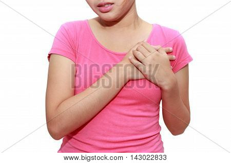 Sporty woman having heart attack on white background - Angina Pectoris Myocardial Infarction.