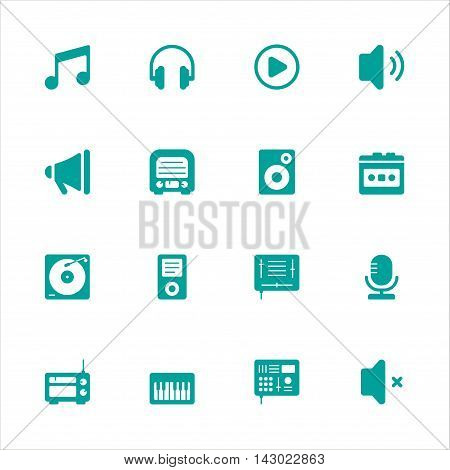 Music flat icons and Musical equipment flat icons