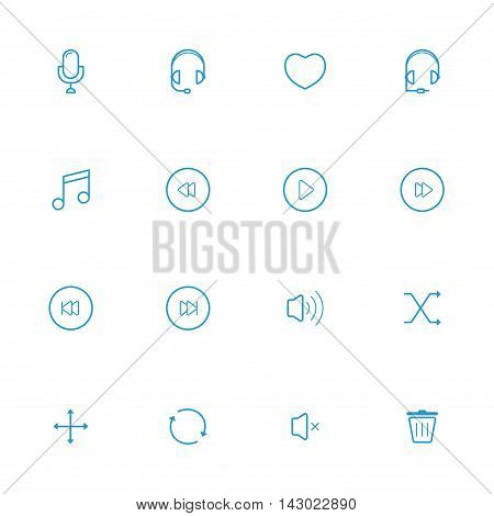 Music blue line icons and Communication blue lineicons