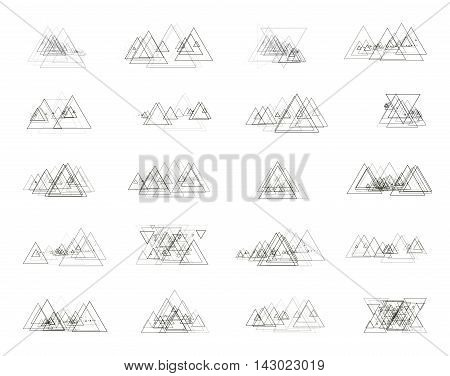 The monochrome gray set isolated elements for design of posters maps brochures and headers architectonic sites. Isolated objects on white background can be edited 2. Vector illustration