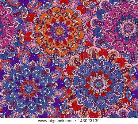Vector boho chic flower pattern. Elegant floral background for wallpaper, gift paper, fabric print, furniture, curtains. Mandala design element. Unusual flourish ornament. Pink, lilac, purple