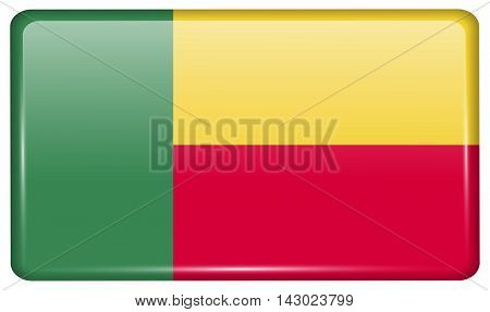 Flags Benin In The Form Of A Magnet On Refrigerator With Reflections Light. Vector