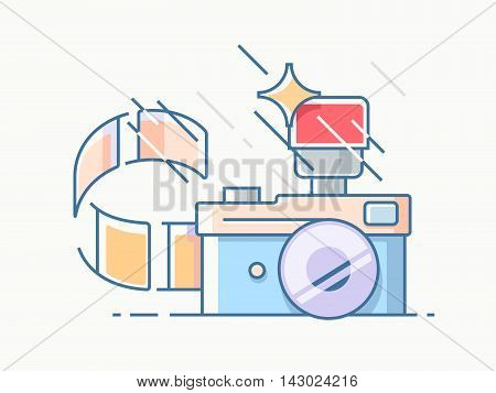 Photo camera with flash film, photo industry, vector icon, line illustration.
