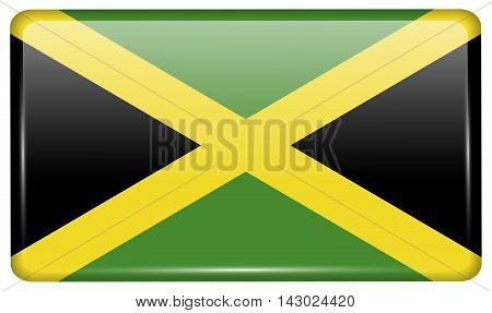 Flags Jamaica In The Form Of A Magnet On Refrigerator With Reflections Light. Vector