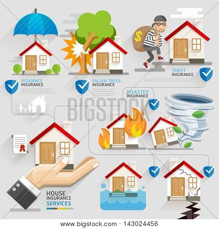 House insurance business service icons template. Vector illustration. Can be used for workflow layout banner diagram number options web design timeline infographics.