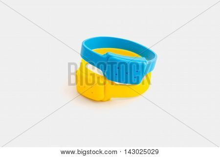 Silicone bracelets mosquito blue and yellow on a white background