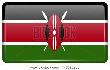 Flags Kenya In The Form Of A Magnet On Refrigerator With Reflections Light. Vector