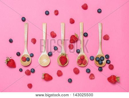isolated from strawberries raspberries and berries in overhead view