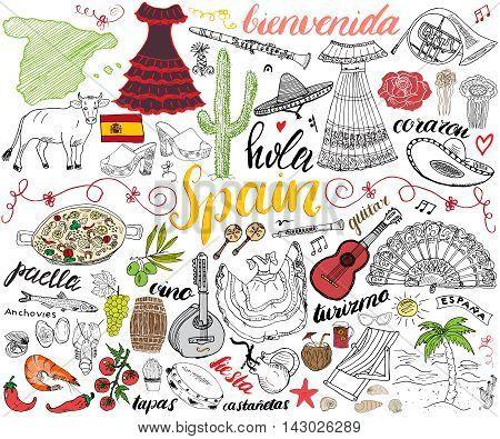 Spain hand drawn sketch set vector illustration.