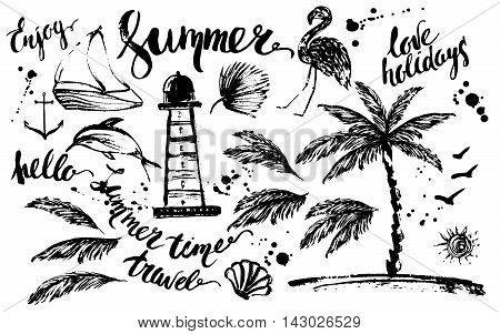 Hand drawn ink summer design element set. Rough black ink sketch of lighthouse dolphin boat palm tree palm leaves flamingo anchor sun birds with summer lettering and ink drops.