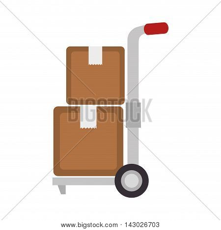handtruck box delivery transportation wheel top arrow pack cargo vector illustration isolated