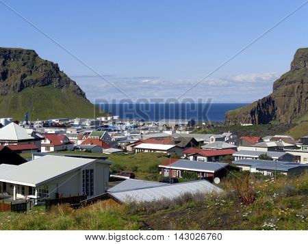 The main populated area on Heimaey, Westman Islands, South of Iceland
