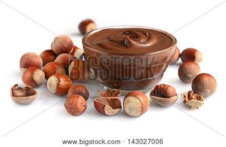 Homemade Hazelnut Spread In Glass Bowl