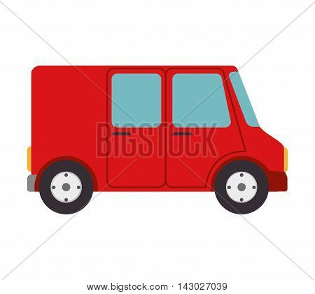 van cargo delivery transport industry shipment vehicle transporter vector ilustration isolated