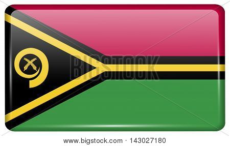 Flags Vanuatu In The Form Of A Magnet On Refrigerator With Reflections Light. Vector