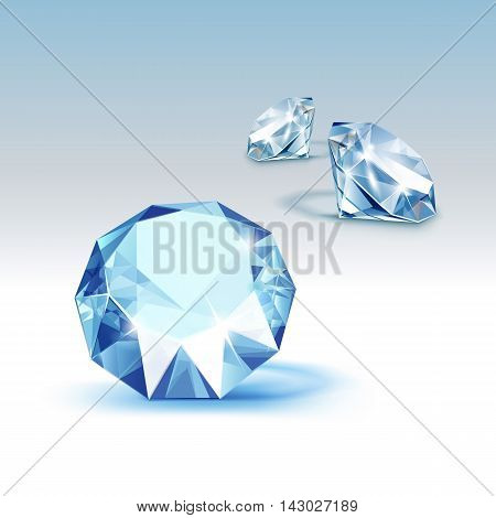 Vector Blue Shiny Clear Diamonds Close up Isolated on  Background