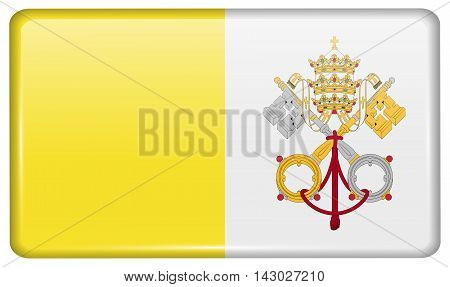Flags Vatican Cityholy See In The Form Of A Magnet On Refrigerator With Reflections Light. Vector