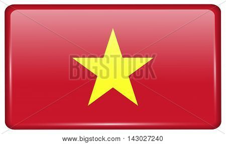 Flags Vietnam In The Form Of A Magnet On Refrigerator With Reflections Light. Vector