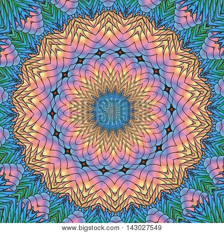Kaleidoscopic bright rainbow pattern. The image is computer graphics created using various programs.