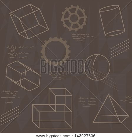 Pattern of geometrical shapes and gears. Eps10