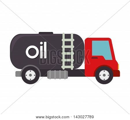 truck oil station gasoline tank container  transport vector illustration isolated