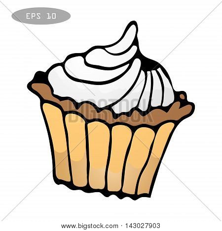 Sweet colorful cupcake isolated eps10 vector illustration