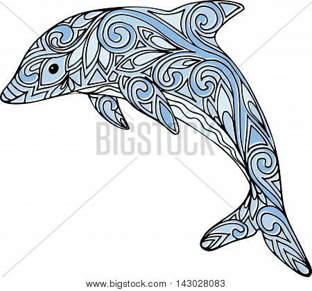 Hand Drawn Doodle Zentangle Dolphin Illustration