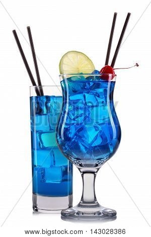 Set of blue cocktails with decoration from fruits and colorful straw isolated on white background.