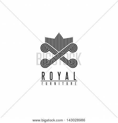 Furniture Logo Chair Monogram Form Throne, Back Sofa Crown Shape, Comfortable Interior Icon