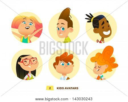 Pupils avatars collection for web and print design