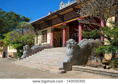 Dragons at the entrance to the old pagoda Lin Sean. Religious landmark  of the city Dalat, Vietnam
