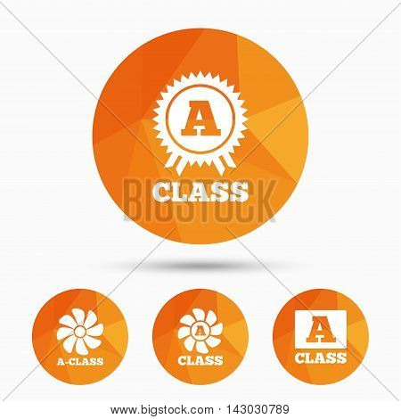 A-class award icon. A-class ventilation sign. Premium level symbols. Triangular low poly buttons with shadow. Vector