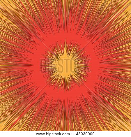 Comic book black and white radial lines background Manga graphic speed frame Superhero action Explosion vector illustration Square fight stamp Sun ray Star burst  texture