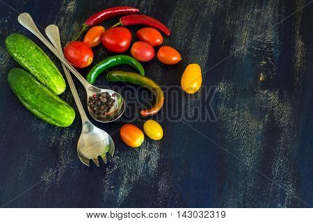 Salad Ingredients And Spoons
