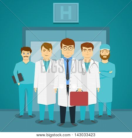 Group of medical specialists in hospital with leading doctor on background of glass doors vector illustration