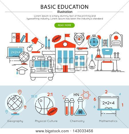 Conceptual basic education banner in linear style and chemistry geography and others descriptions vector illustration