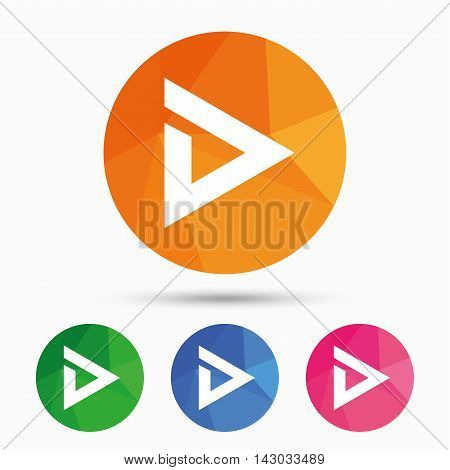 Arrow sign icon. Next button. Navigation symbol. Triangular low poly button with flat icon. Vector