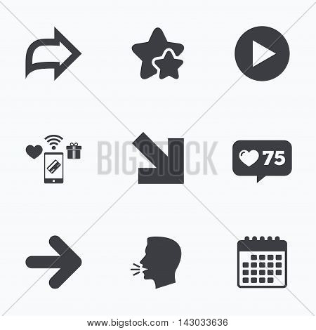 Arrow icons. Next navigation arrowhead signs. Direction symbols. Flat talking head, calendar icons. Stars, like counter icons. Vector