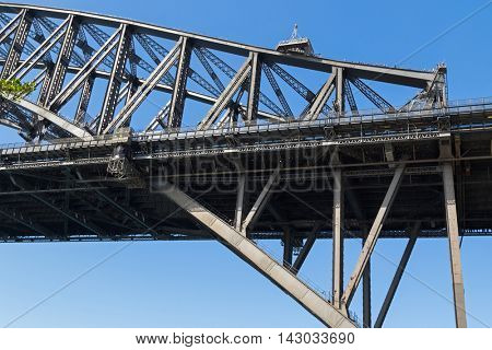 SYDNEY, AUSTRALIA - APRIL, 2016 : Sydney Harbour Bridge with people walking on top in Sydney, Australia on April 20, 2016. It's steel arched bridge connecting Central business district and North Shore