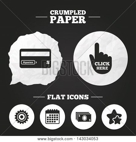Crumpled paper speech bubble. ATM cash machine withdrawal icons. Insert bank card, click here and check PIN, processing and get cash symbols. Paper button. Vector
