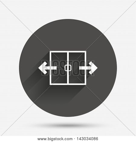 Automatic door sign icon. Auto open symbol. Circle flat button with shadow. Vector