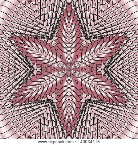 Kaleidoscopic pink pearl pattern. The image is computer graphics created using various programs. It can be used in the design of your site design textile printing industry in a variety of design projects.