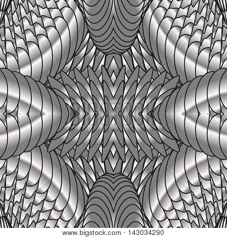 Kaleidoscopic silver pattern. The image is computer graphics created using various programs. It can be used in the design of your site design textile printing industry in a variety of design projects.