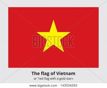 The flag of The Democratic Republic of Vietnam. It depicts a five-pointed star on a red background. Vietnamese state symbol. Proper colors and proportions. Vector eps8 illustration.