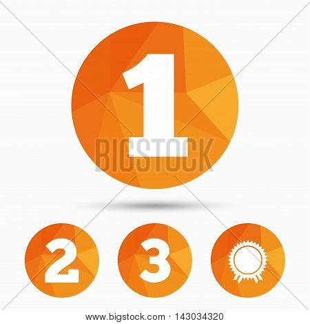First, second and third place icons. Award medal sign symbol. Triangular low poly buttons with shadow. Vector