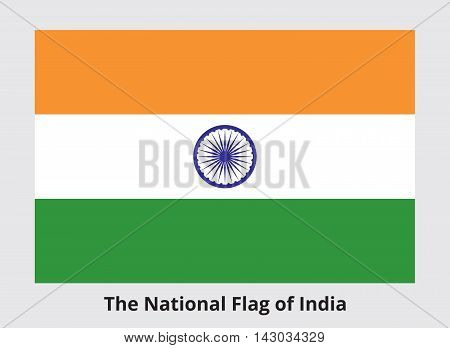 The National Flag of India. Horizontal rectangular tricolor of deep saffron white and green with Ashoka Chakra in navy blue in center. Proper proportions and colors. Vector illustration in eps8.