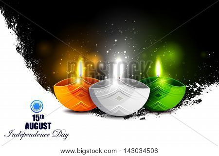 easy to edit vector illustration of Tricolor Diya on Indian Independence Day celebration background
