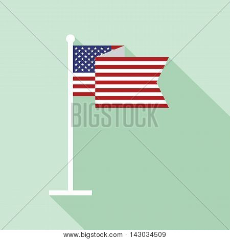 USA national flag on flagstaff vector flat icon. Vector icon of American flag in flat style with long shadow. Flat icon with star-spangled banner. Vector illustration in EPS8 format.